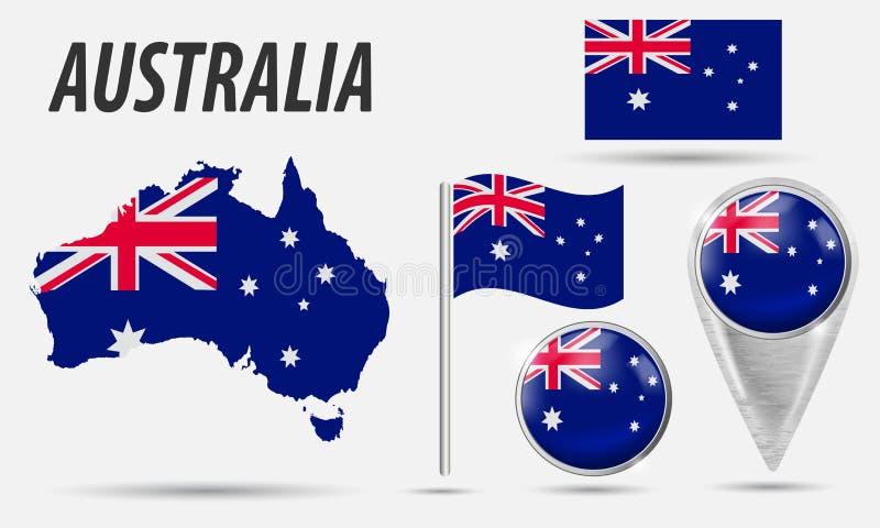 l'australia Bandiera dell'insieme, puntatore della mappa, bottone, bandiera d'ondeggiamento, simbolo, icona piana e mappa nei col royalty illustrazione gratis