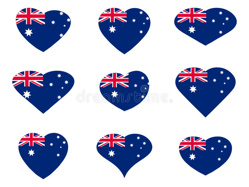 l'australia Cuori con la bandiera australiana Vettore illustrazione vettoriale