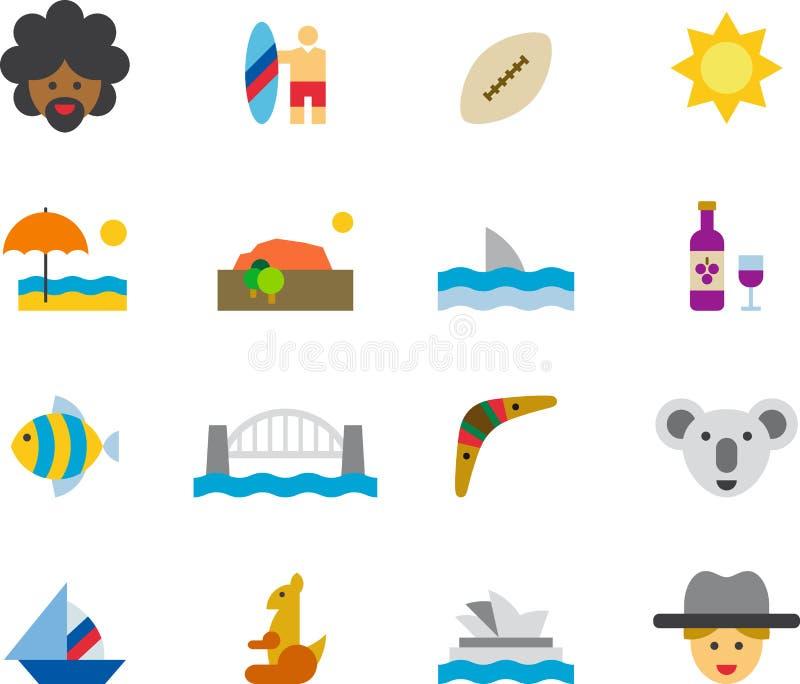 L'AUSTRALIA ha colorato le icone piane illustrazione vettoriale