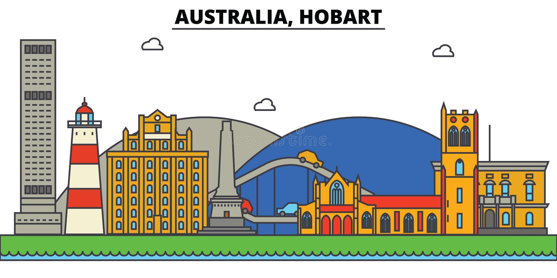 L'Australia, Hobart Architettura dell'orizzonte della città editabile illustrazione vettoriale