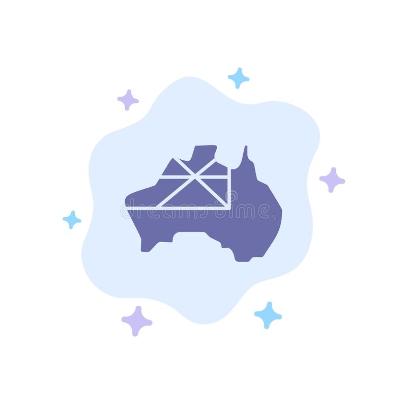 L'Australia, mappa, paese, icona blu della bandiera sul fondo astratto della nuvola illustrazione vettoriale