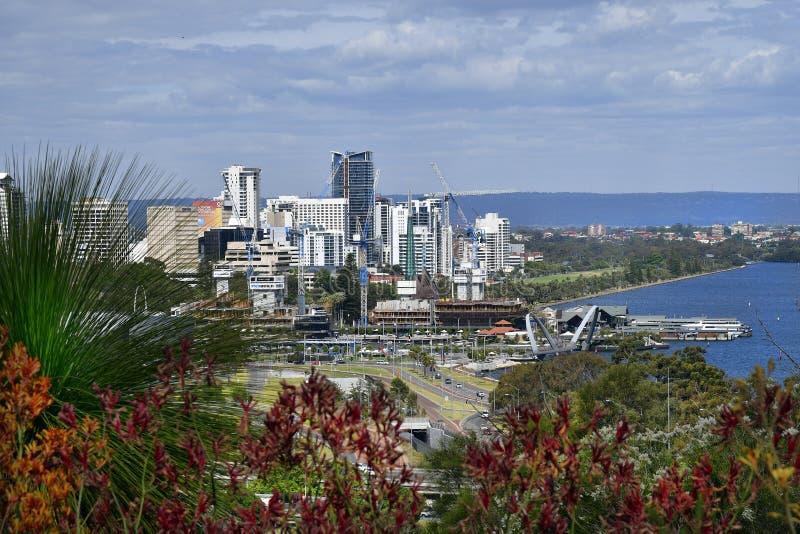 L'Australia, Perth, Citysearch con il fiume del cigno fotografia stock