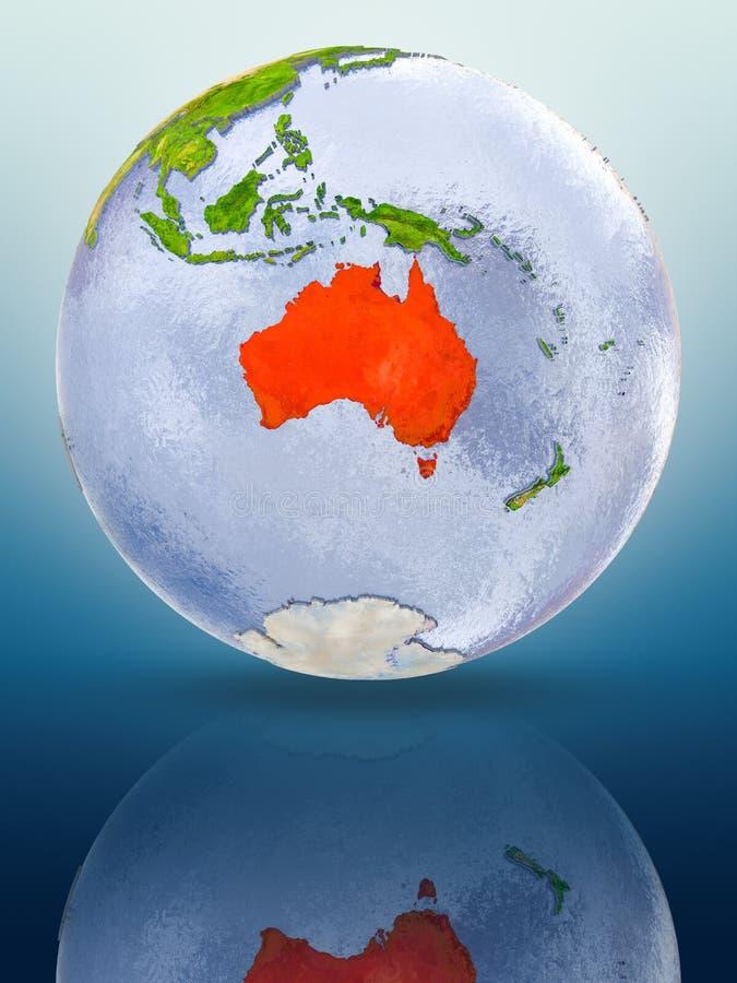 L'Australia sul globo illustrazione vettoriale