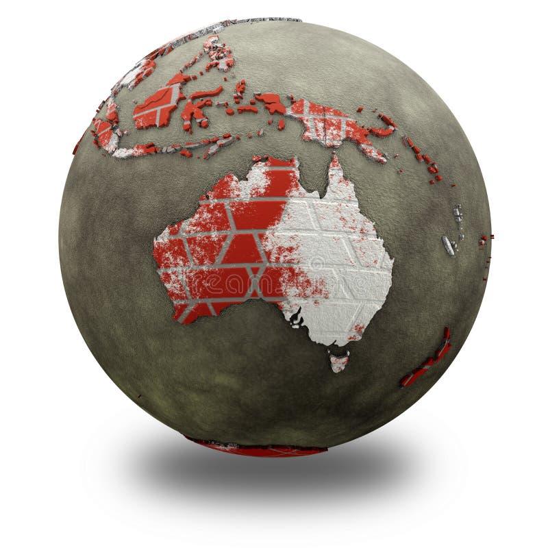 L'Australia sulla terra del muro di mattoni illustrazione di stock
