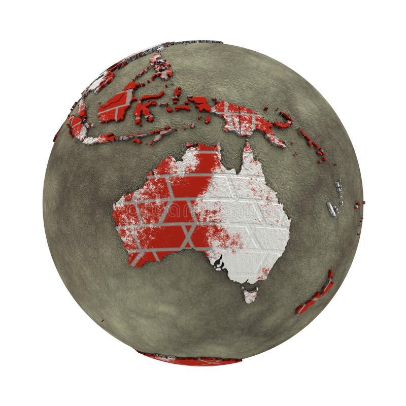 L'Australia sulla terra del muro di mattoni illustrazione vettoriale