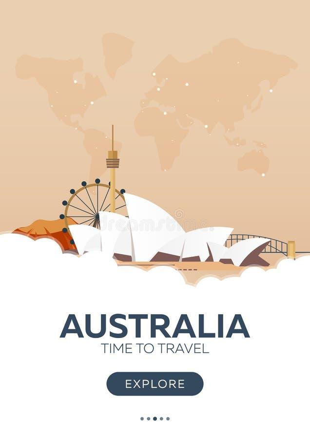 l'australia Tempo di viaggiare Manifesto di viaggio Illustrazione piana di vettore royalty illustrazione gratis