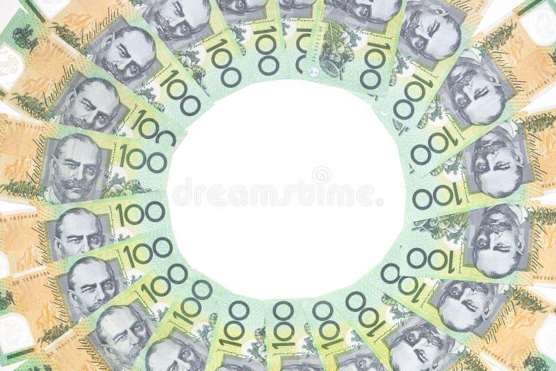 L'Australien cent billets d'un dollar entourent le modèle sur le dos de blanc photo stock