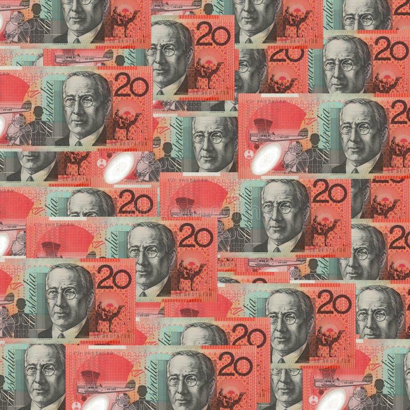 L'Australien multiple vingt billets de banque du dollar $20 a dispersé vers le bas sur chacun images stock
