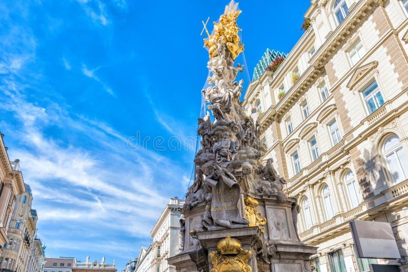 l'austria Colonna di peste sulla via di Graben a Vienna fotografia stock