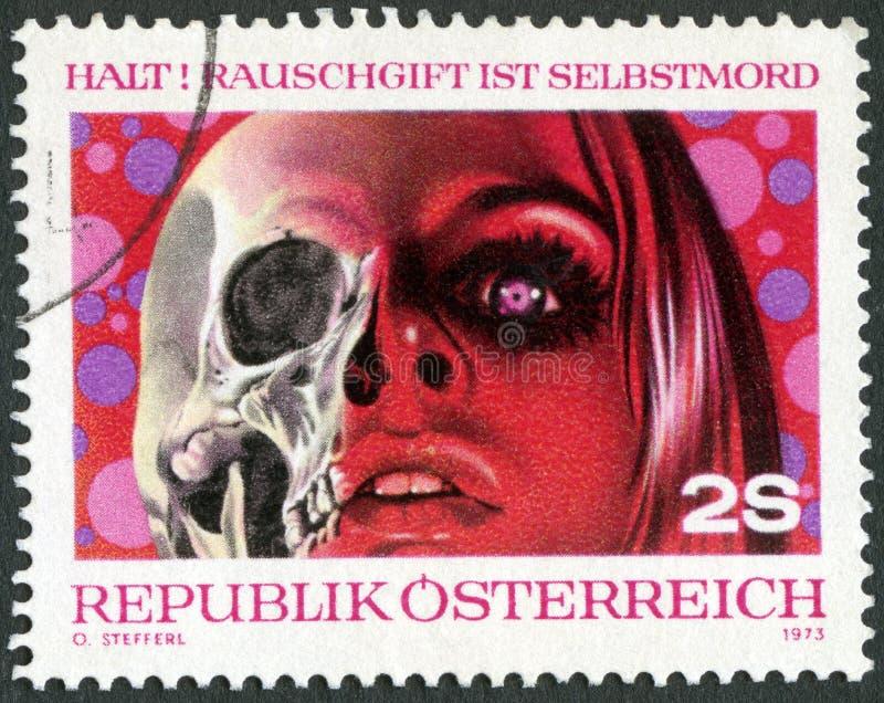 L'AUSTRIA - 1973: le droghe di manifestazioni sono morte, lotta contro abuso di droga immagine stock