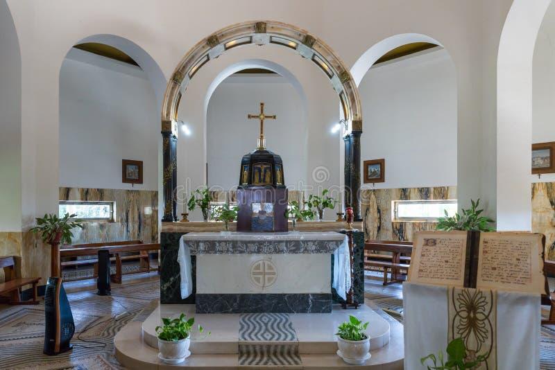 L'autel central dans le monastère de béatitude situé sur l'autel central de mounThe dans le monastère de béatitude situé sur le m images stock
