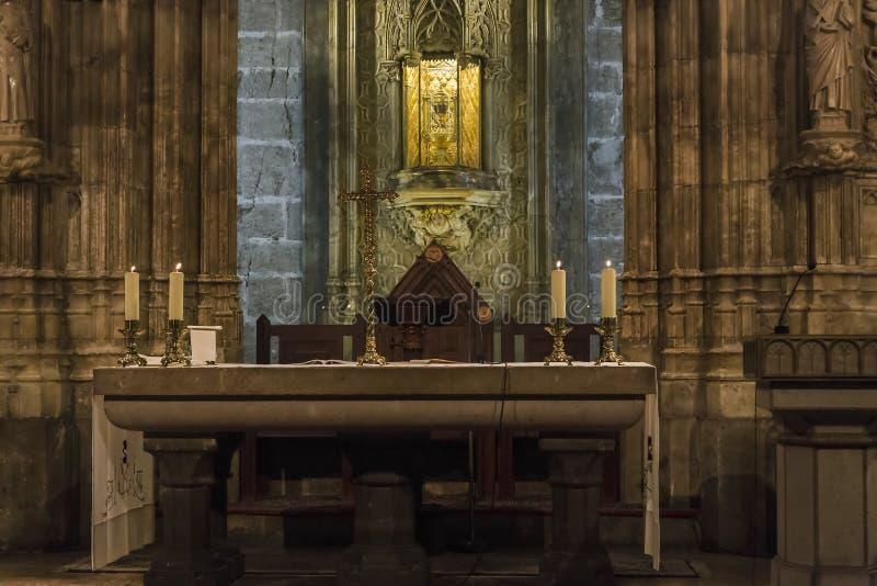 L'autel du Saint Graal dans la cathédrale de Valence, Espagne photographie stock