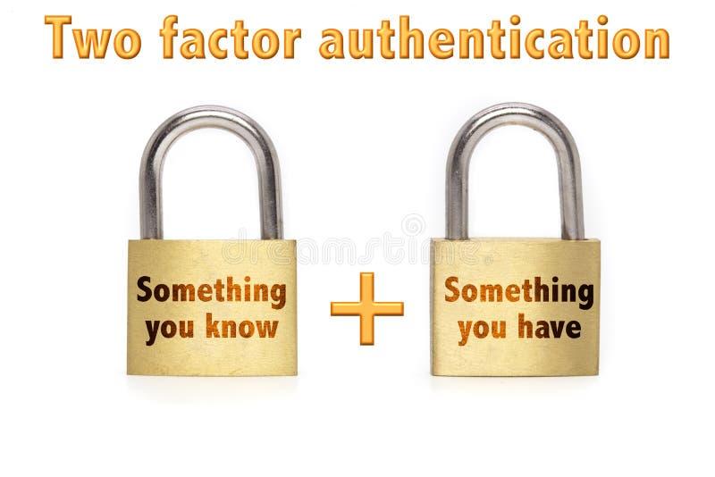 L'autenticazione a due fattori padlocks il concetto isolato su bianco fotografie stock libere da diritti
