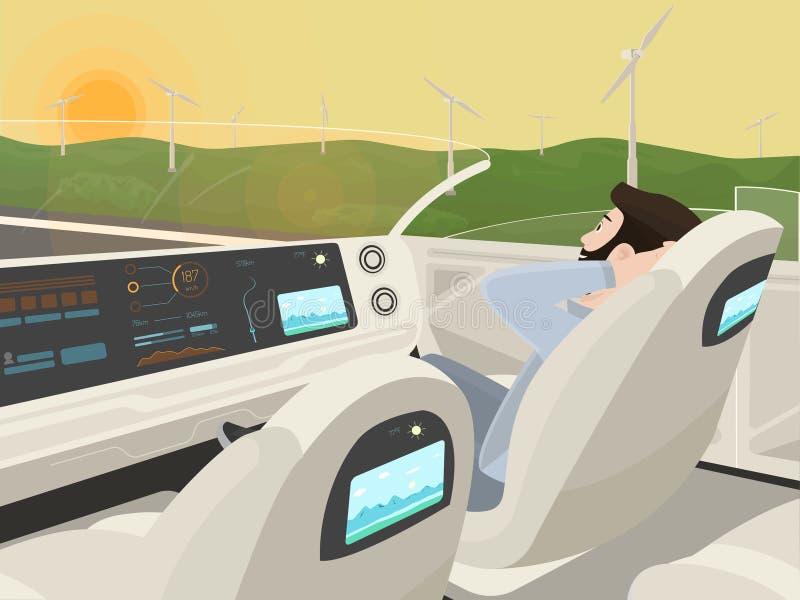 l'Auto-entraînement de la voiture électrique est assorti au passager de détente illustration libre de droits