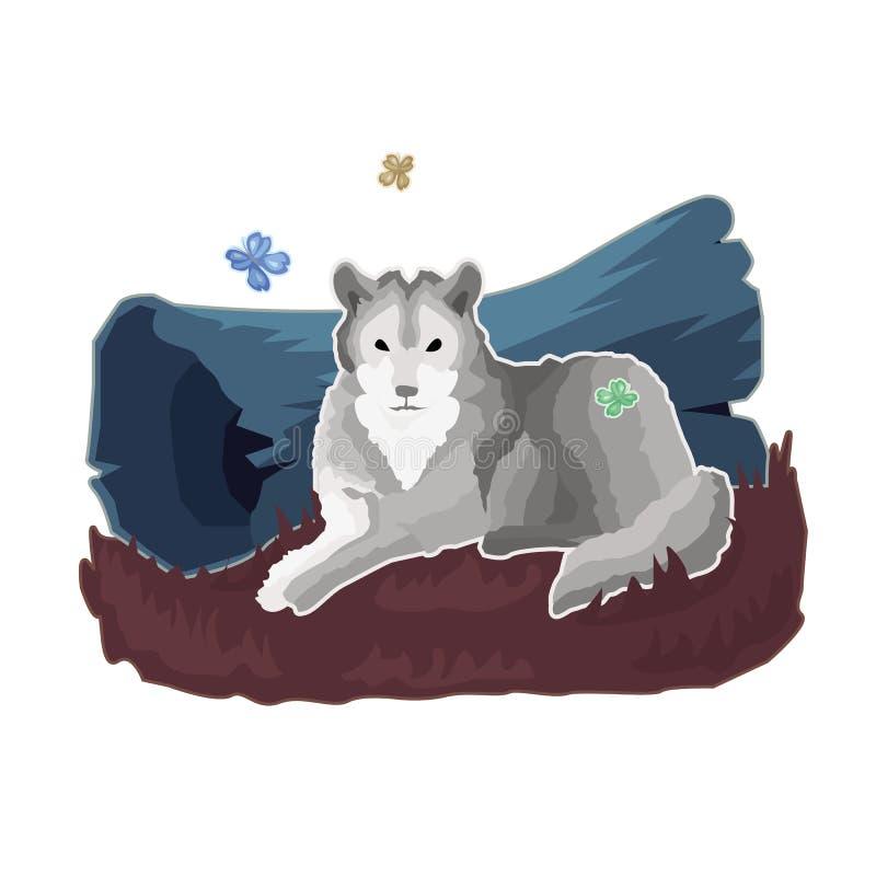 L'autoadesivo del lupo calmo grigio che si trova, riposa dal ceppo della foresta illustrazione vettoriale