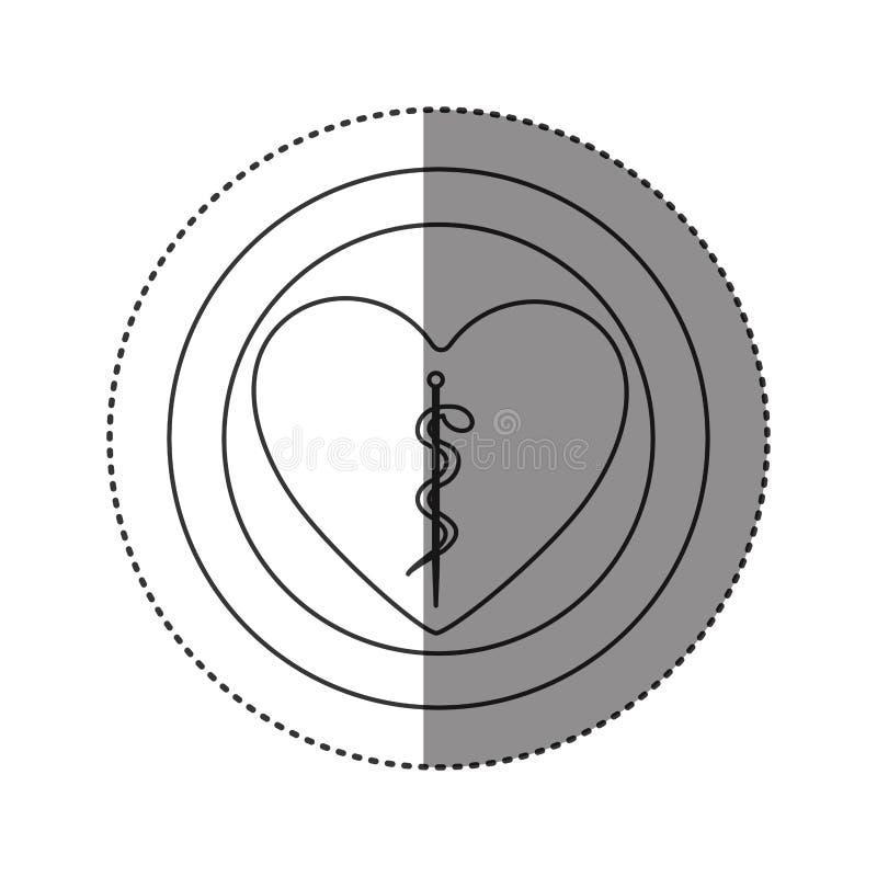 l'autoadesivo della siluetta monocromatica di cuore dentro di doppio cerchio con il serpente di asclepius si è arrotolato royalty illustrazione gratis