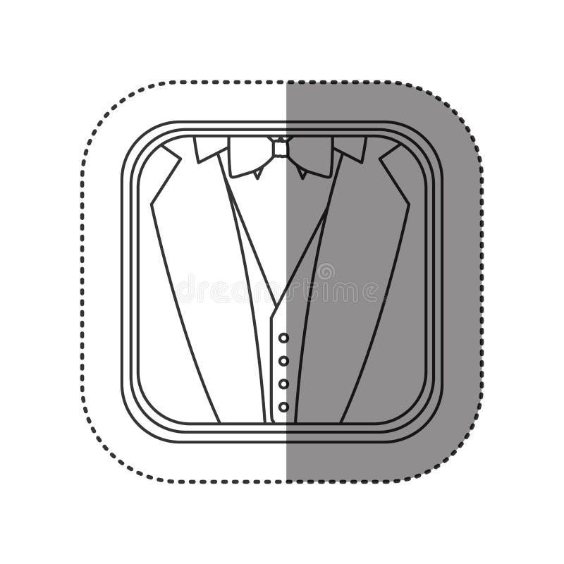 l'autoadesivo di monocromio ha arrotondato il quadrato con fondo del vestito convenzionale illustrazione di stock