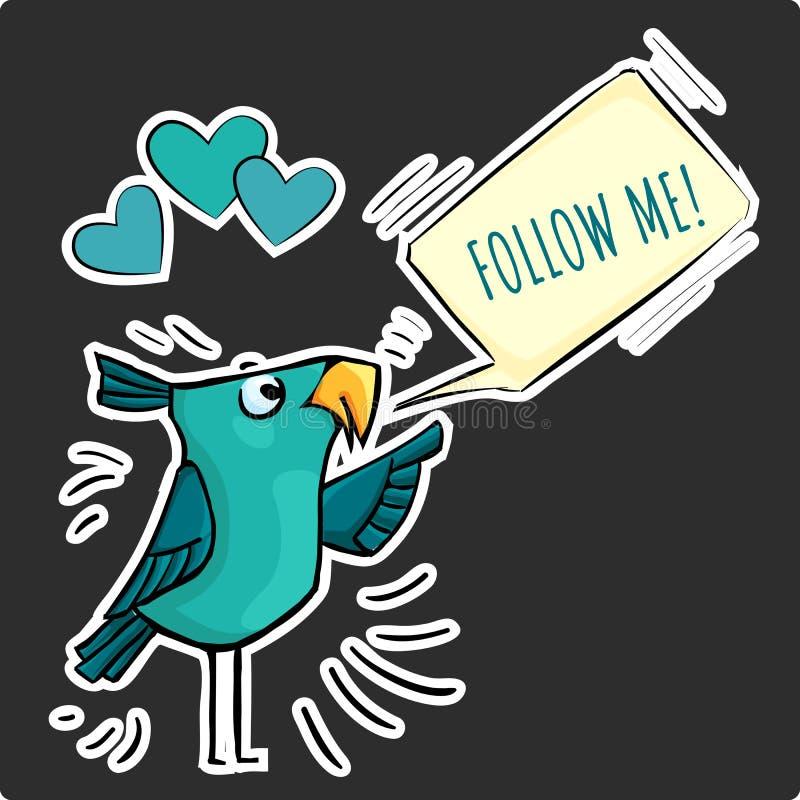 L'autoadesivo divertente per i media sociali mi segue uccello blu illustrazione vettoriale