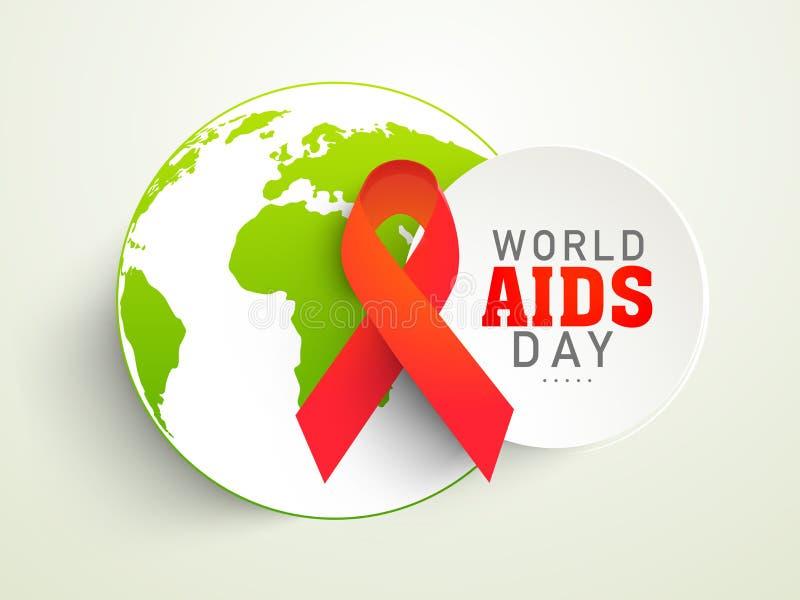 L'autoadesivo ha messo con il giorno rosso di consapevolezza dell'AIDS del mondo del globo o del nastro illustrazione vettoriale