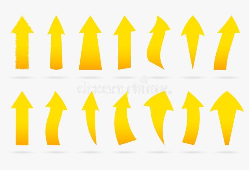 L'autoadesivo popolare della freccia di vettore giallo stabilito ha isolato il nastro di origami illustrazione di stock