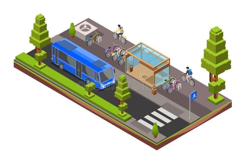 L'autobus isometrico di vettore fermata la sezione trasversale illustrazione di stock