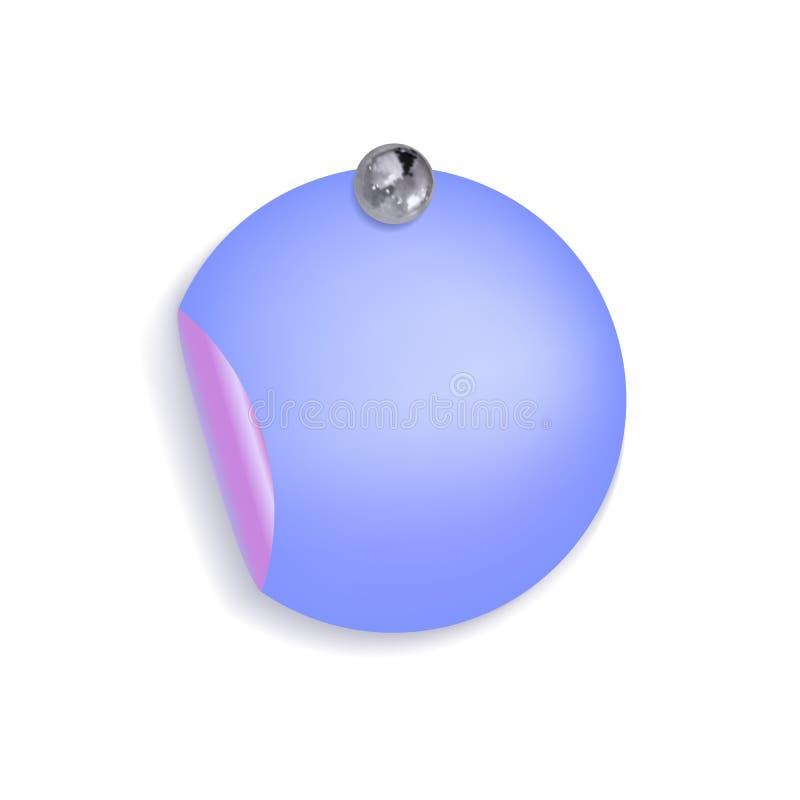 L'autocollant bleu de forme ronde de vecteur attaché par Pin Button argenté métallique réaliste, élément de conception a isolé illustration libre de droits