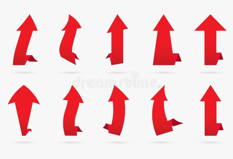L'autocollant populaire de flèche de vecteur rouge réglé de velours a isolé la nervure d'origami illustration de vecteur