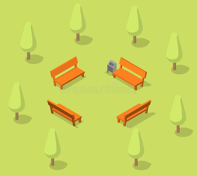l'automne benches le paysage de stationnement E r illustration stock