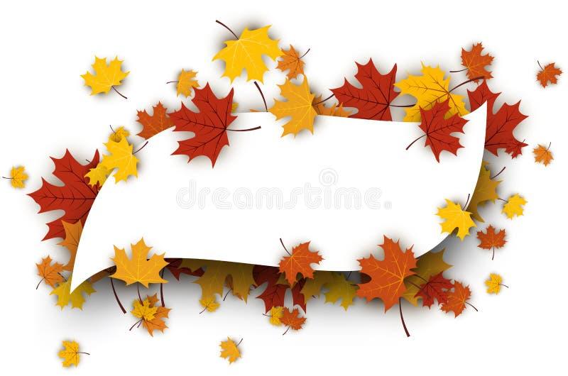 L'automne a figuré le fond avec des feuilles d'érable illustration libre de droits
