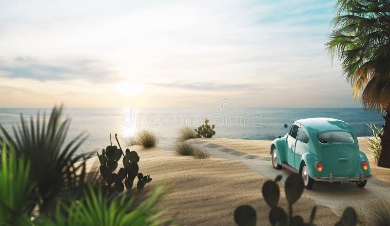 L'automobile d'annata sulla spiaggia con il tramonto, 3d rende l'illustrazione illustrazione vettoriale