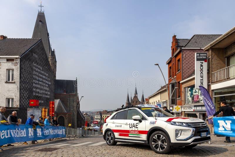 L'automobile dei UAE Team Emirates - giro delle Fiandre 2019 fotografia stock libera da diritti