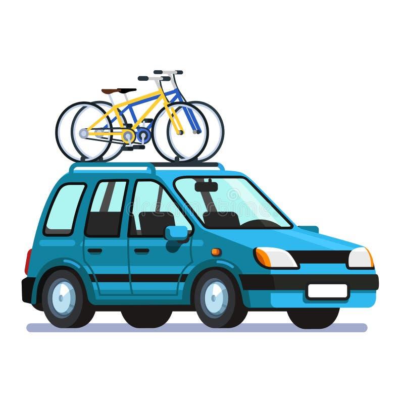L'automobile del vagone con due biciclette ha montato sullo scaffale di tetto royalty illustrazione gratis