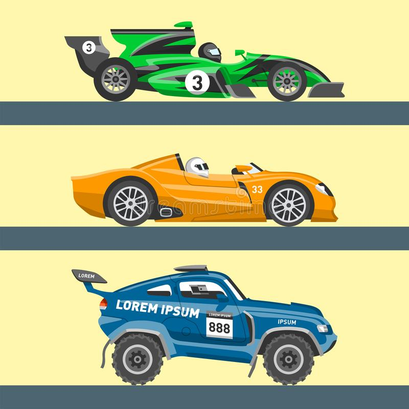 L'automobile della velocità di vettore della macchina da corsa ed il motore veloce variopinto dell'automobile fuori strada di rad illustrazione di stock