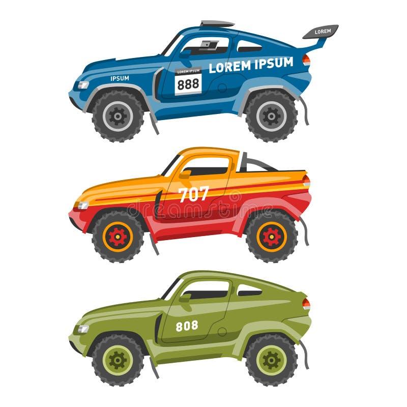L'automobile della velocità di vettore della macchina da corsa ed il motore veloce variopinto dell'automobile fuori strada di rad royalty illustrazione gratis