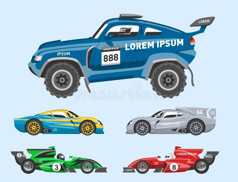 L'automobile della velocità di vettore della macchina da corsa ed il motore veloce variopinto dell'automobile fuori strada di rad illustrazione vettoriale