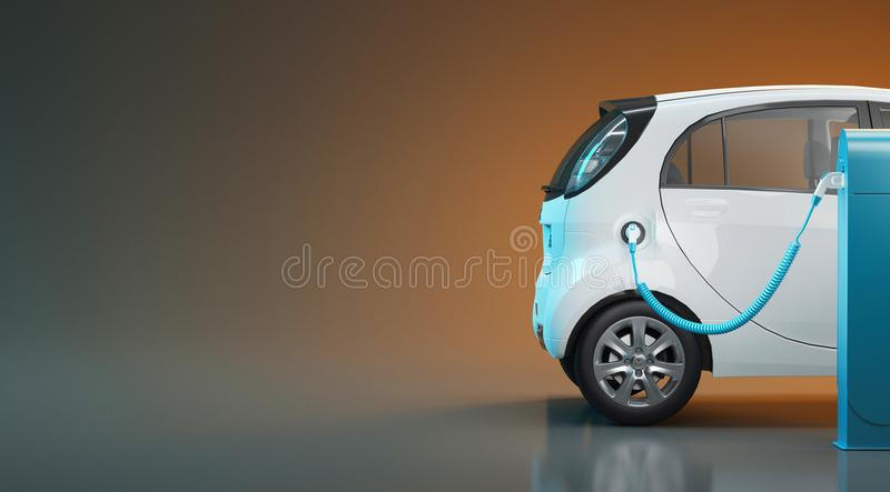 L'automobile elettrica in carica, 3d rende l'illustrazione illustrazione di stock