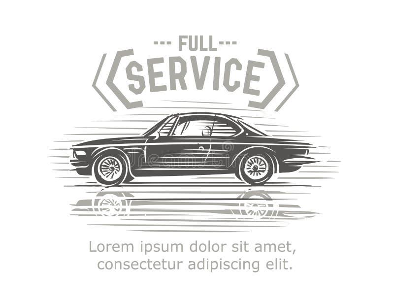 L'automobile entretient l'affiche/carte/calibre de logo Vecteur illustration libre de droits