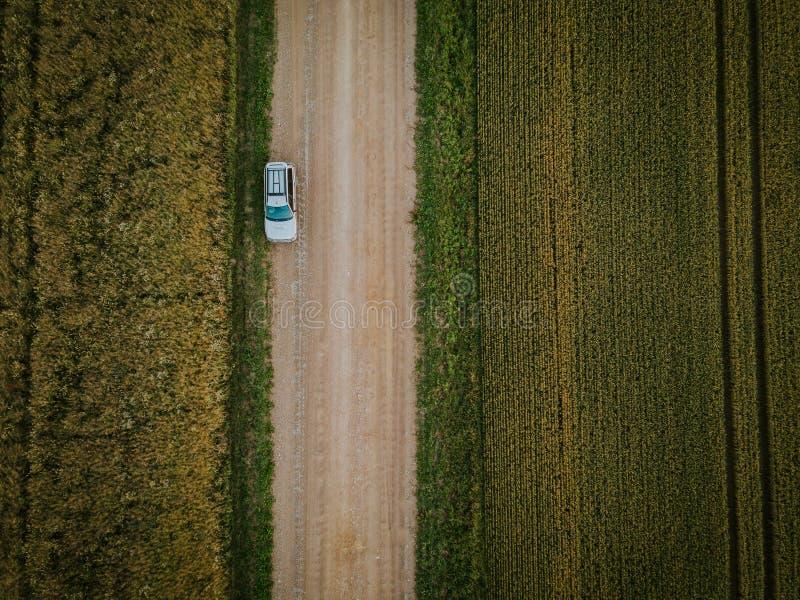 L'automobile ha parcheggiato sulla strada non asfaltata con i campi del raccolto circondati fotografia stock libera da diritti