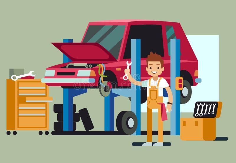 L'automobile professionale sorridente ripara l'automobile della riparazione dell'uomo nel concetto di vettore del centro ricambi illustrazione vettoriale