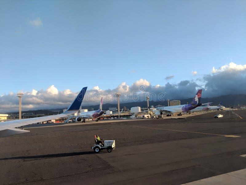 l'automobile raffic guida giù la pista come aerei di Hawaiian Airlines parcheggiati all'aeroporto internazionale di Honolulu immagini stock libere da diritti
