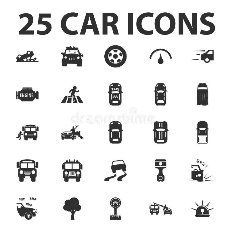 L'automobile, ripara 25 icone semplici nere messe per il web royalty illustrazione gratis