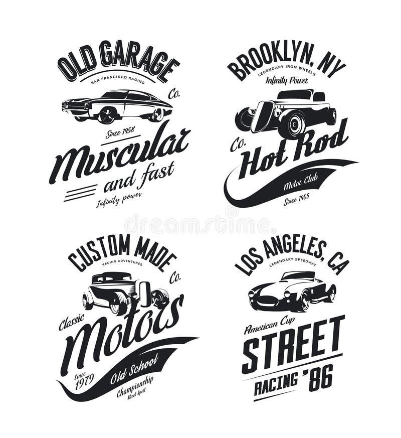 L'automobile scoperta a due posti d'annata, la barretta calda su ordinazione ed il logo della maglietta di vettore dell'automobil illustrazione di stock