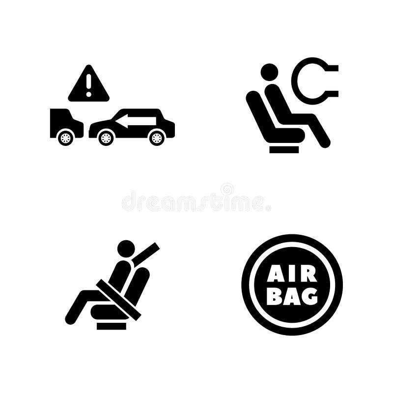 L'automobile se protègent Icônes relatives simples de vecteur illustration stock