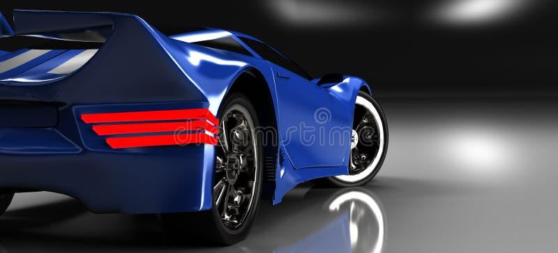 L'automobile sportiva blu moderna, 3d, rende immagini stock libere da diritti