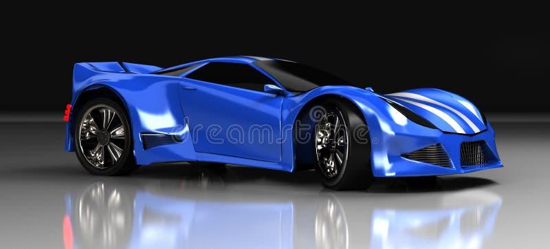 L'automobile sportiva blu moderna, 3d, rende fotografie stock libere da diritti