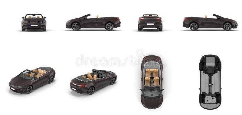L'automobile sportiva convertibile rende l'insieme dagli angoli differenti su un bianco illustrazione 3D royalty illustrazione gratis