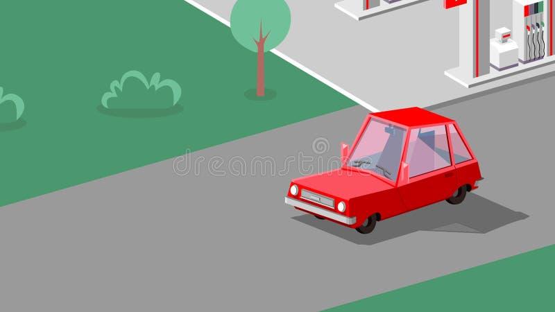 L'automobile sta guidando nella via Illustrazione di arte illustrazione vettoriale