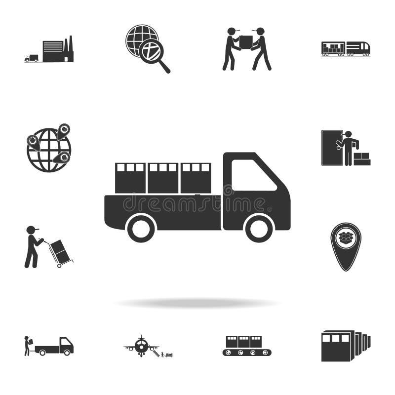 l'automobile sta trasportando l'icona del contenitore di imballaggio Insieme dettagliato delle icone logistiche Progettazione gra illustrazione vettoriale
