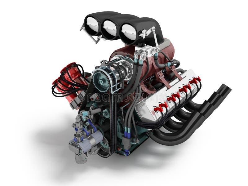 L'automobile turbo è rossa blu rappresentazione anteriore di prospettiva 3d sul fondo bianco con ombra illustrazione di stock
