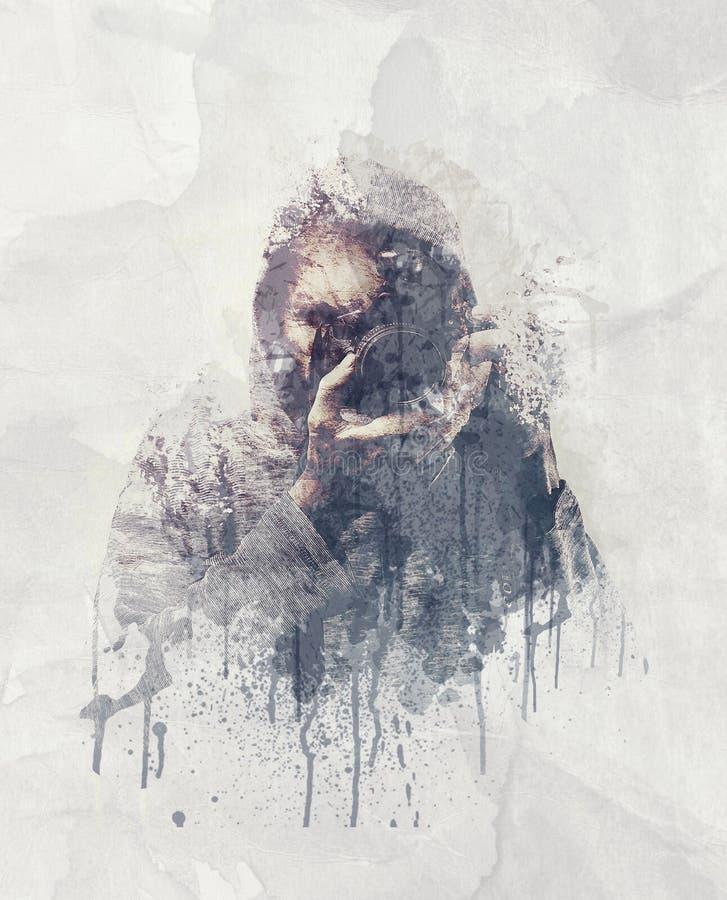 L'autoportrait abstrait d'un photographe s'est brisé dans des morceaux illustration stock